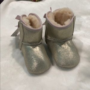UGG Baby Boots, Gold Sparkly & Pink Trim, Size 2/3
